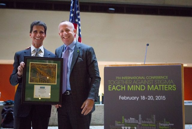 California State Senator Mark Leno, left, stands with former President pro Tempore of the California State Senate Darrell Steinberg, right, who was honored as a mental health champion at the 7th annual International Together Against Stigma Conference on Thursday, February 19, 2015 in San Francisco, CA.